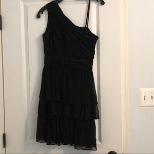 Black flowy one shoulder cocktail dress